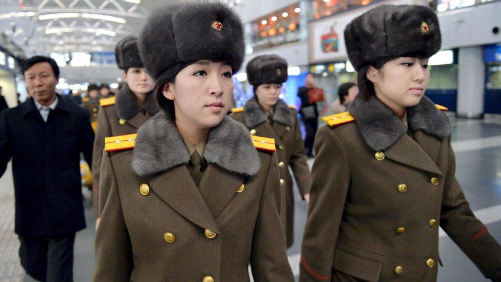 North Korean Kpop Idol Group Moranbong Band photographed while traveling. Image Copyright of REUTERS - BBC News