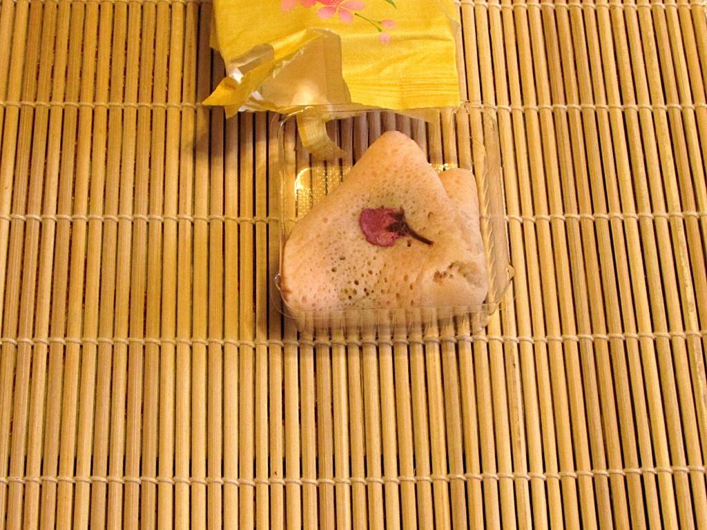 A dried sakura blossom petal on top