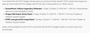 NYCC 2018 Anime Fest Access