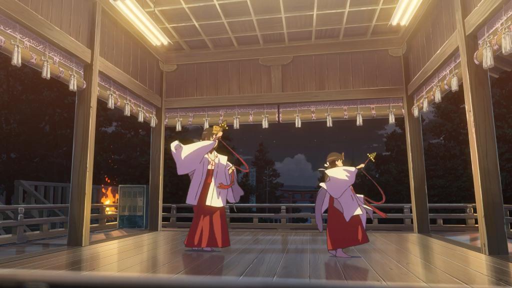 Mitsuha and Yotsuha Miyamizu performing the lost kuchikamizake ceremony. Kimi no Na wa