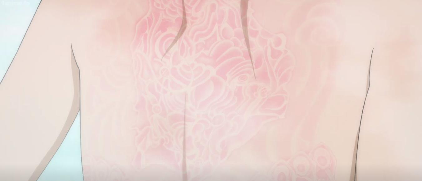 The treasure map on Dororo's back. Episode 13 of Dororo