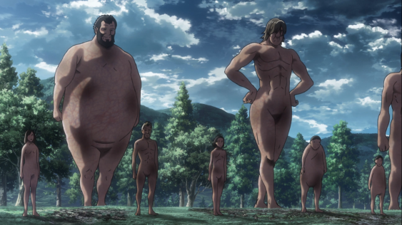 Titan serving fierce looks, Shingeki no Kyojin episode 13