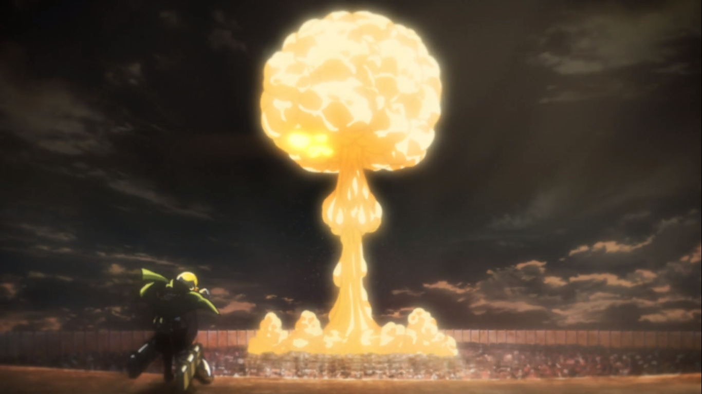 Allegory for Titans as super weapons with Berthold Hoover's Colossal Titan transformation in Attack on Titan Season 3, Episode 15