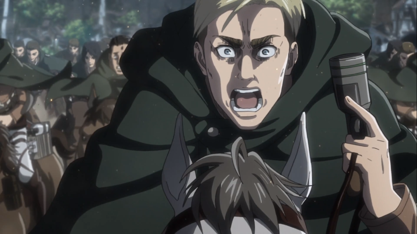 The charismatic Erwin Smith, 13th Commander of the Survey Corps -  leading his soldiers into a final suicide charge. Attack on Titan Season 3, Episode 16