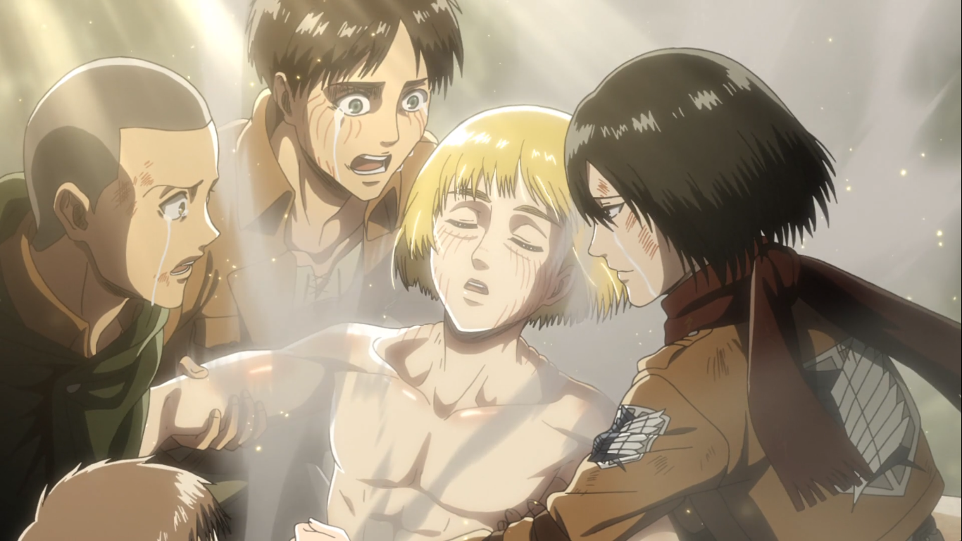 Armin Arlert emerges as the new god of destruction - the Colossal Titan. Attack on Titan Season 3, Episode 18