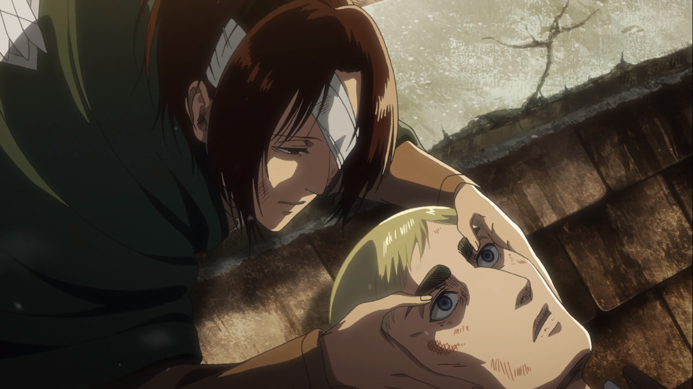 Levi and Hange leave their deceased friend and Commander, Erwin Smith, to rest in the deserted Shiganshina district. Attack on Titan Season 3, Episode 18