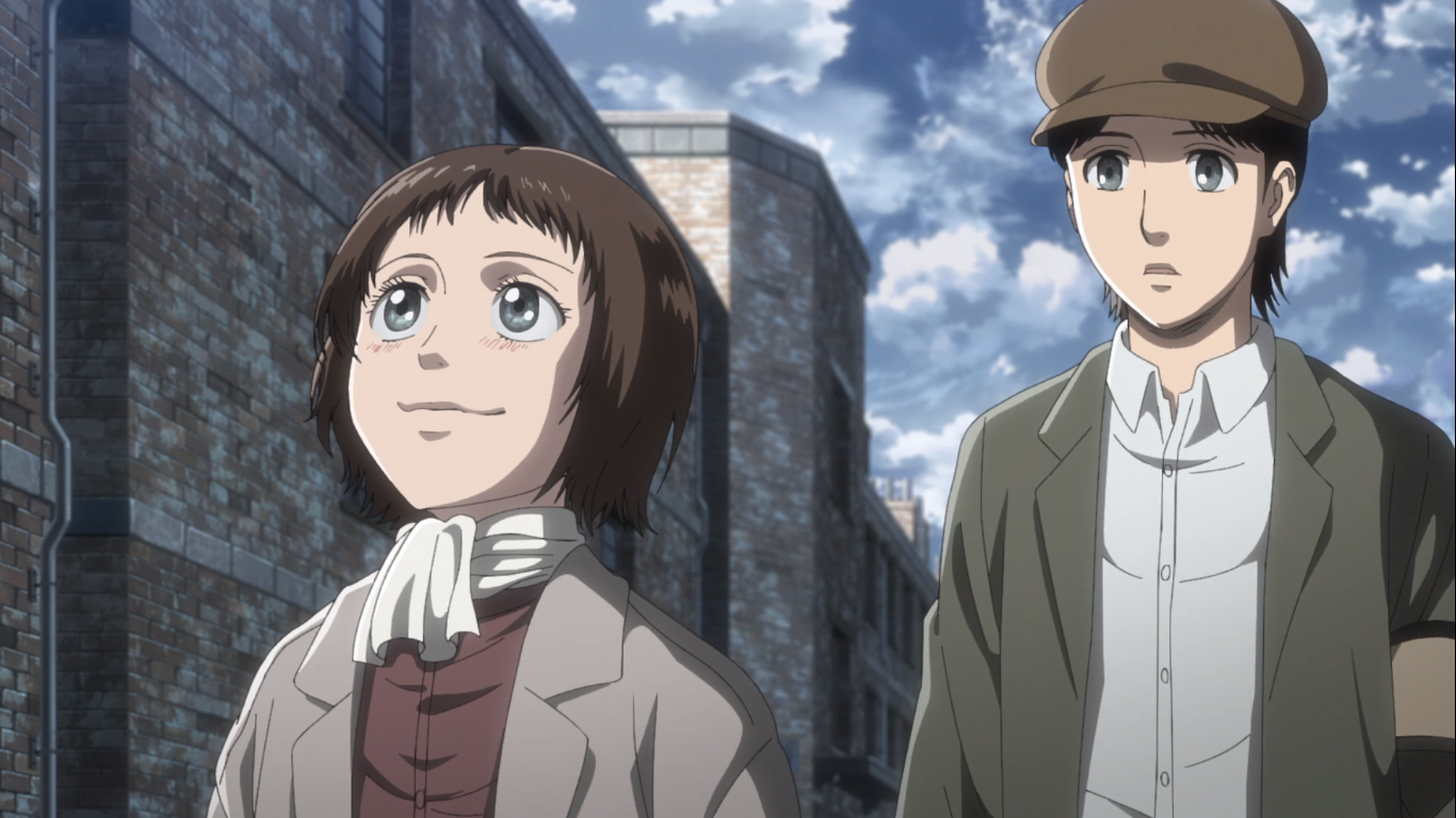 Young Grisha and Faye Yeager, before leaving the Eldian internment zone in Liberio, Marley. Attack on Titan Season 3, Episode 19.
