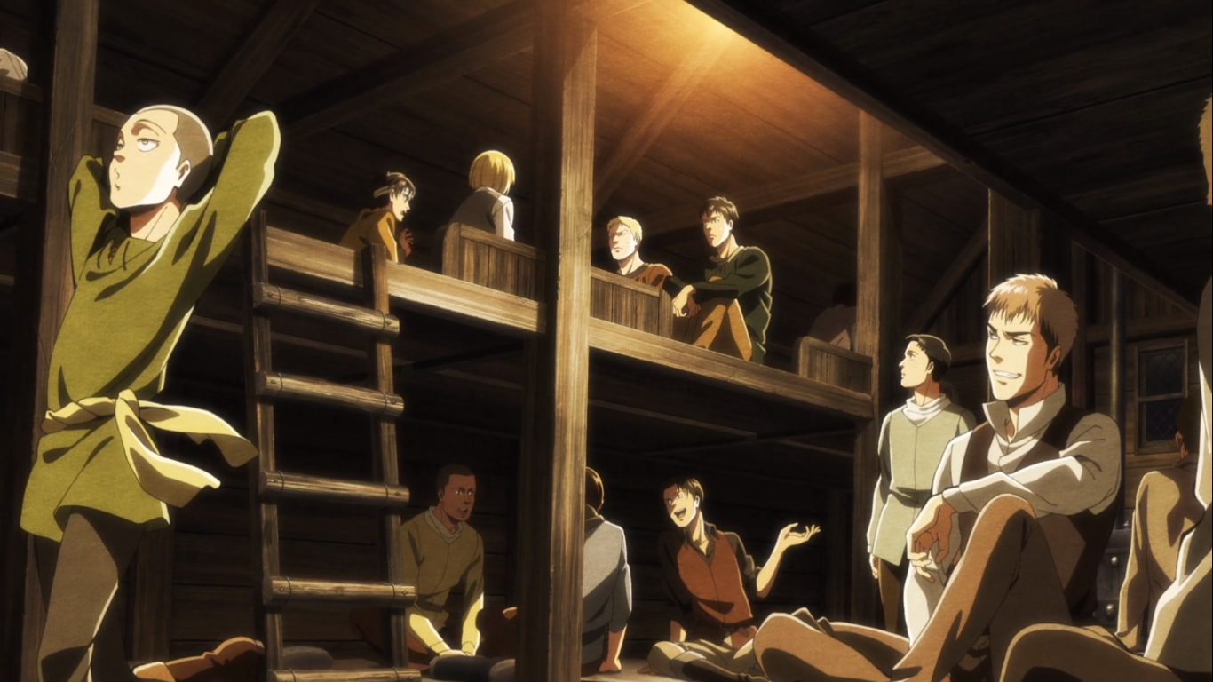Poor Marco.  He was the only one watching Bertholdt and Reiner the entire time. And was ultimately killed for being so observant.  From the Attack on Titan Season 3, Episode 19 credits.