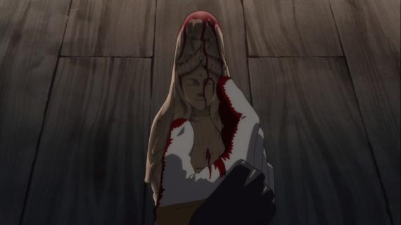 Daigo caressing and reaching out to Kannon, Dororo episode 24