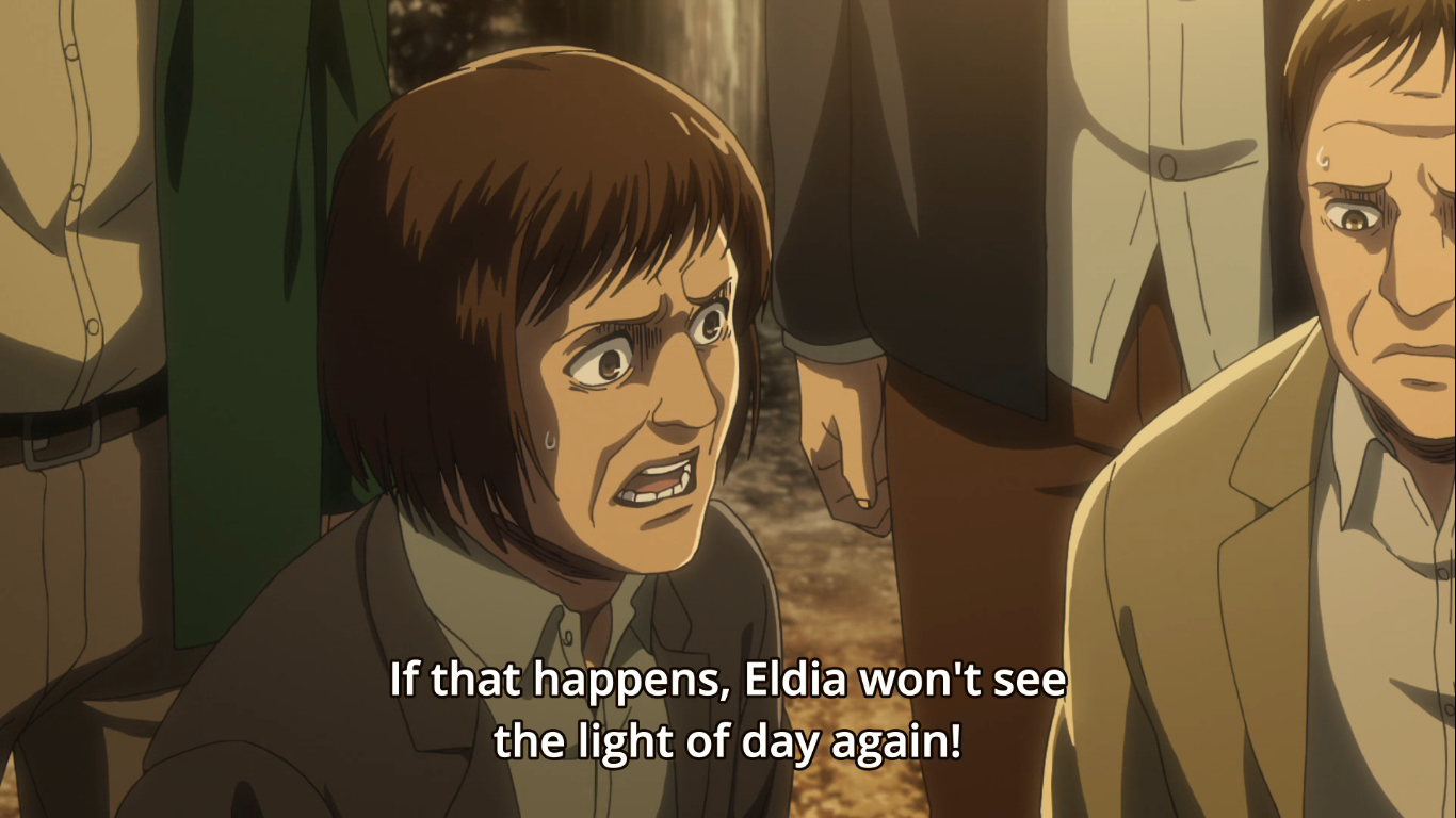 This unnamed man from the Eldian Restorationist later became the 'kawaii titan' from Season one. Attack on Titan Season 3, Episode 20