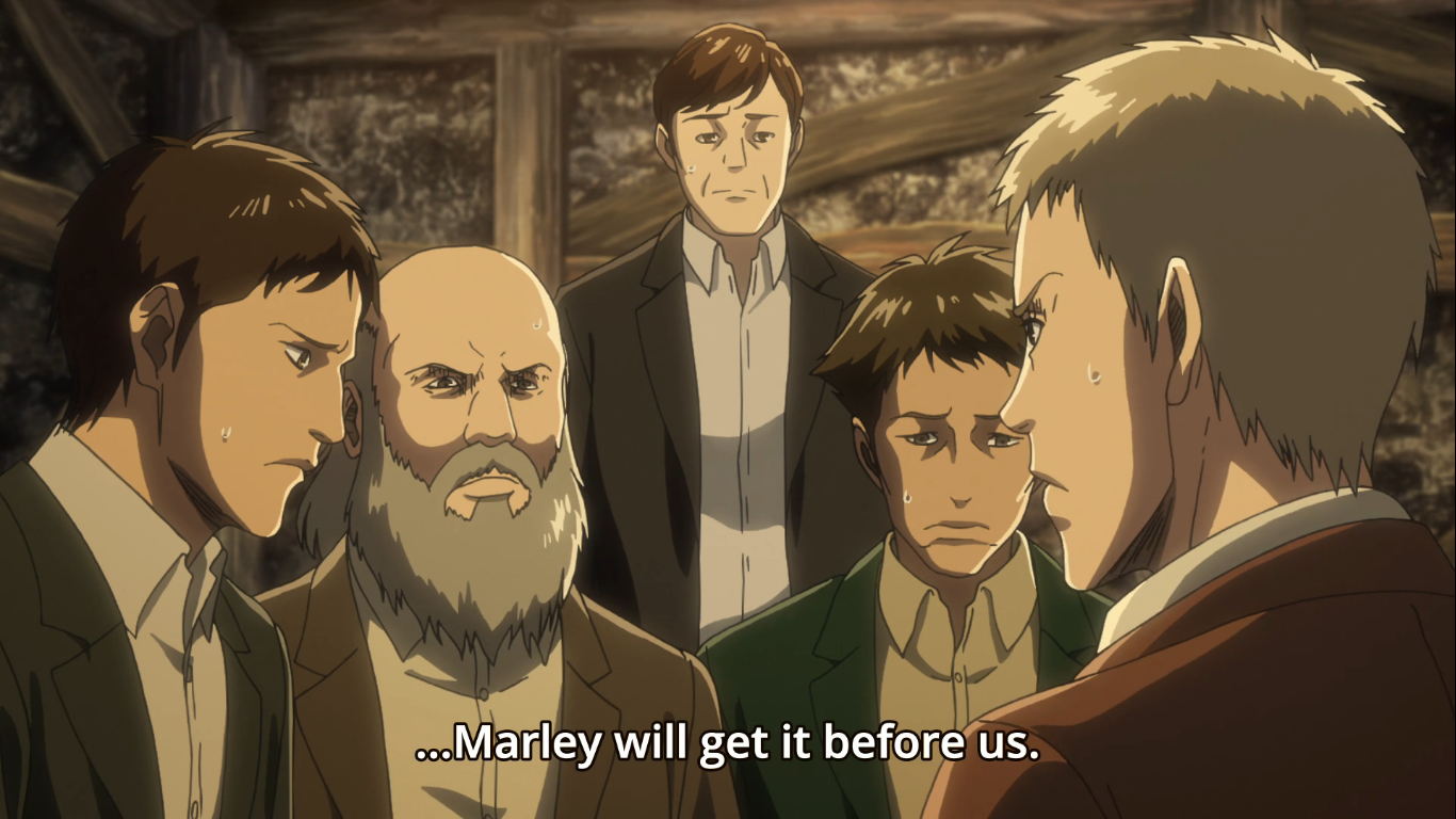 Grisha Yeager's  Eldian Restorationist comrades who were later turned into titans. These men were seen killing Eren's first squad in earlier episodes of the series. Attack on Titan Season 3, Episode 20