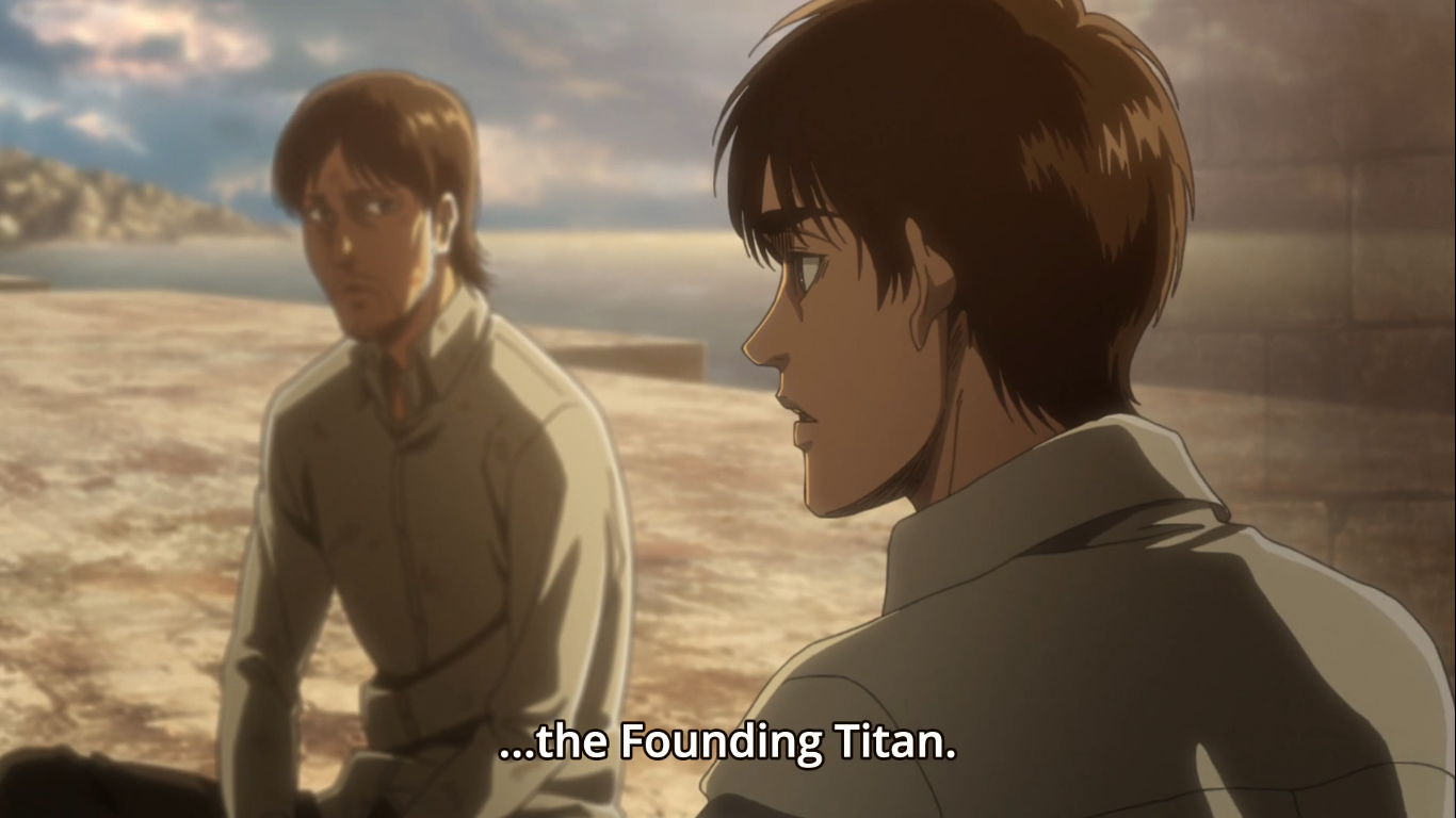 Eren Yeager transcends time and space to speak through Kruger and directly to his father, Grisha. Attack on Titan Season 3, Episode 21