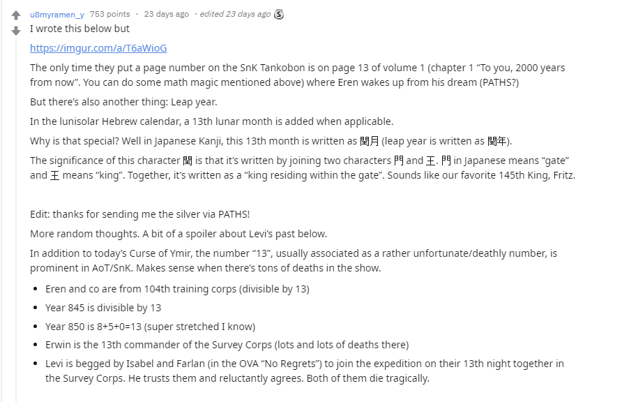Reddit theories on the significance of the number 13 in Attack on Titan