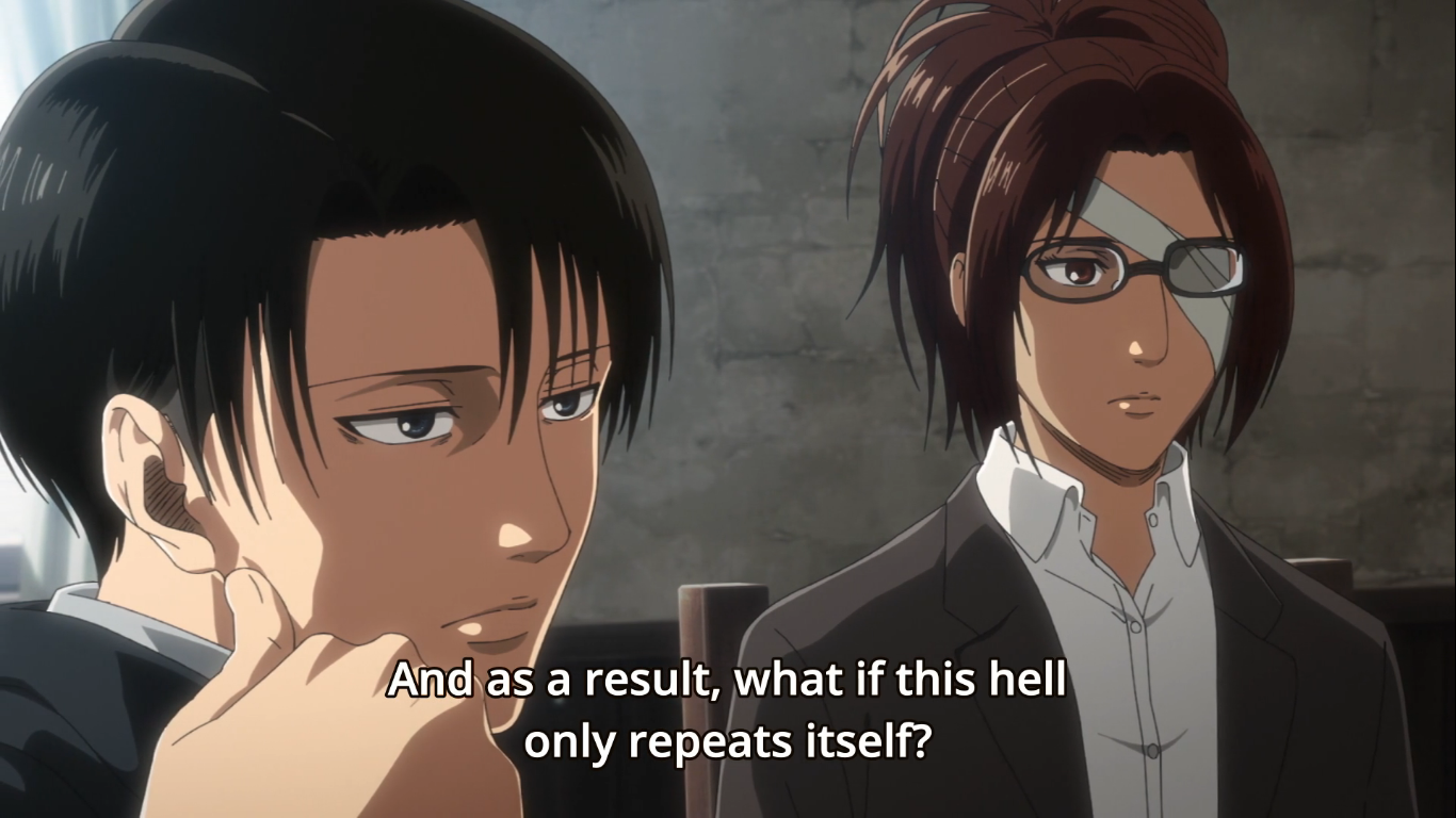A reporter speaks to Hange and Levi - questioning Eldia's new reality. Attack on Titan Season 3 Finale, Episode 22