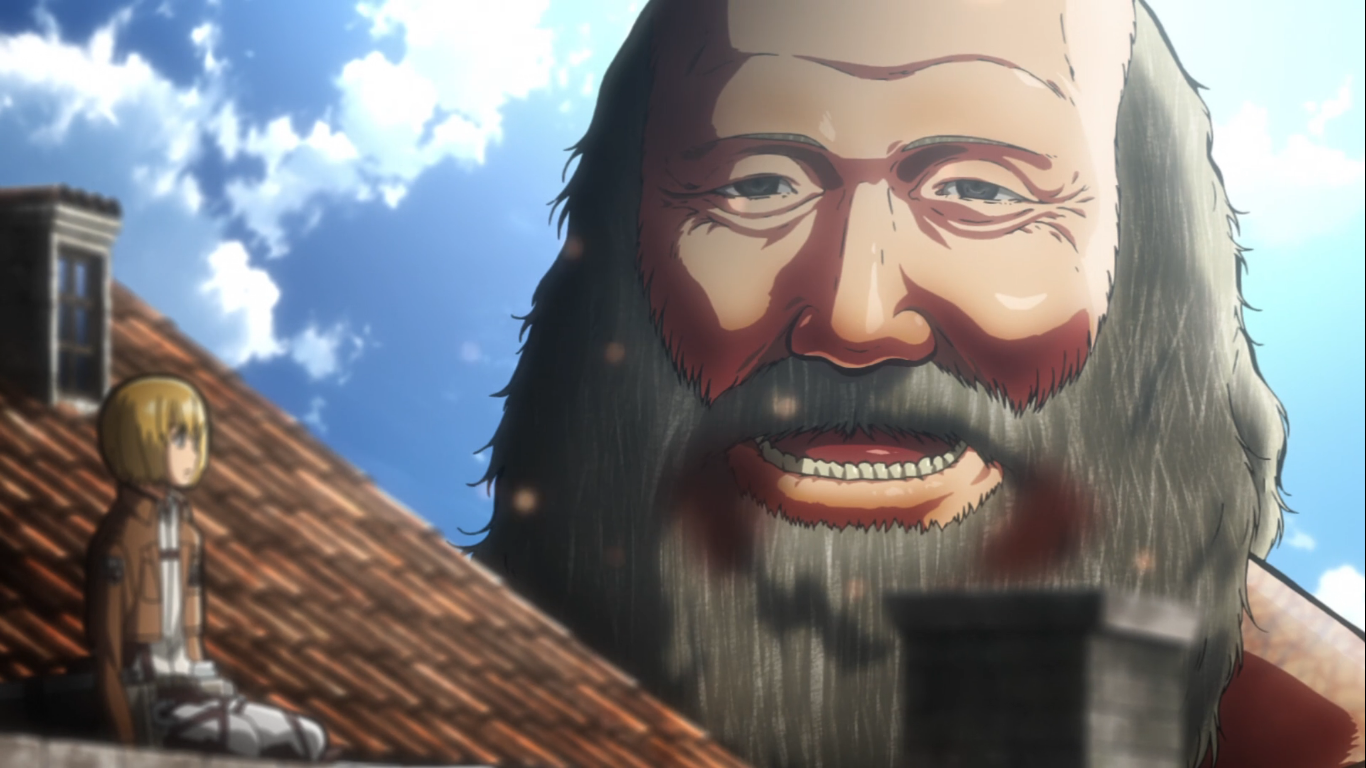The Santa Claus Titan who tried to eat Armin and successfully ate Eren to trigger his titan awakening, was a former Eldian Restorationist. From Attack on Titan Season 1, Episode 5