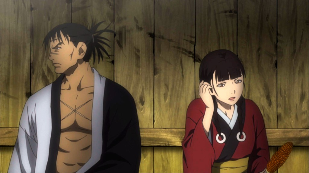 Manji and Rin sit down together and eat corn. As seen in Mugen no Juunin Immortal episode 4.