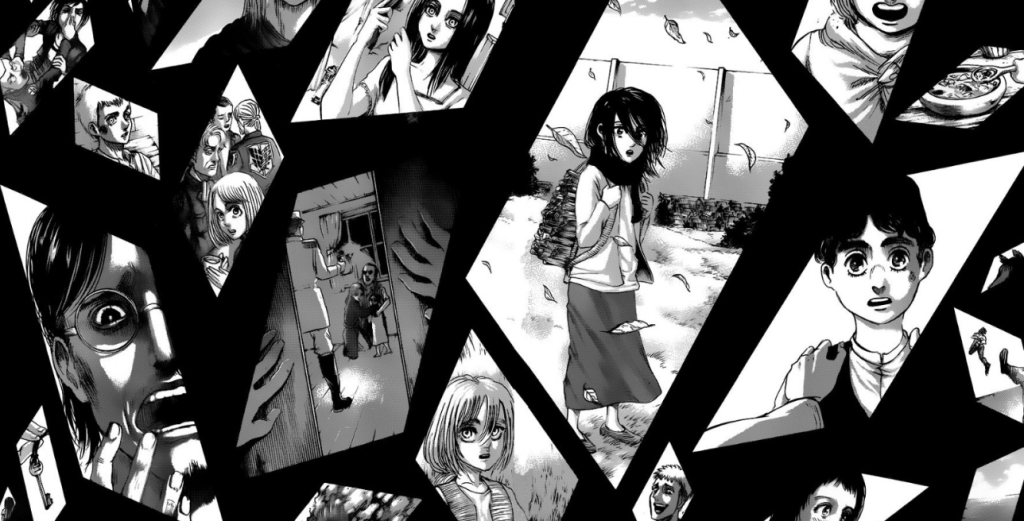 Fragments of Eren's joint memories from the PATHs dimension. Note the mysterious kid from this chapter on the right hand side of this display.