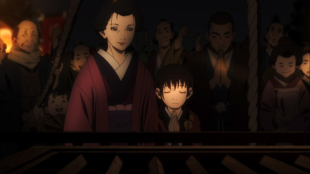 Rin prays against the tragedies that later befall her family. Blade of the Immortal episode six.