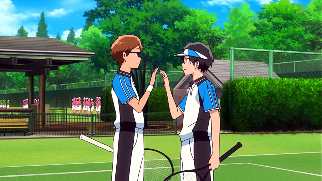 Katsuragi Maki and Shinjo Toma celebrate after winning a match. Stars Align episode 11