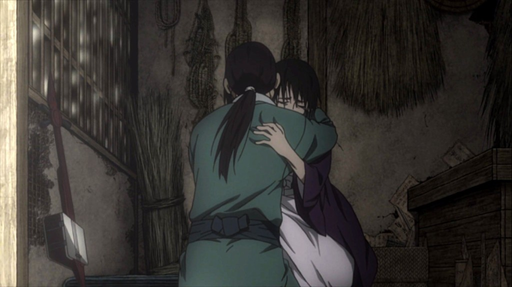 Makie and Kagehisa embrace. Blade of the Immortal episode 12