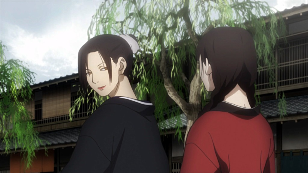 Hyakurin and Rin have a chat. Mugen no Juunin episode 14.