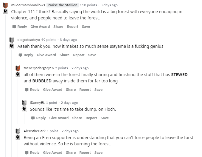 The SnK forest analogy from Reddit III