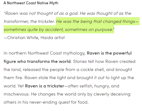 """""""Raven the Trickster""""  from the American Museum of Natural History"""
