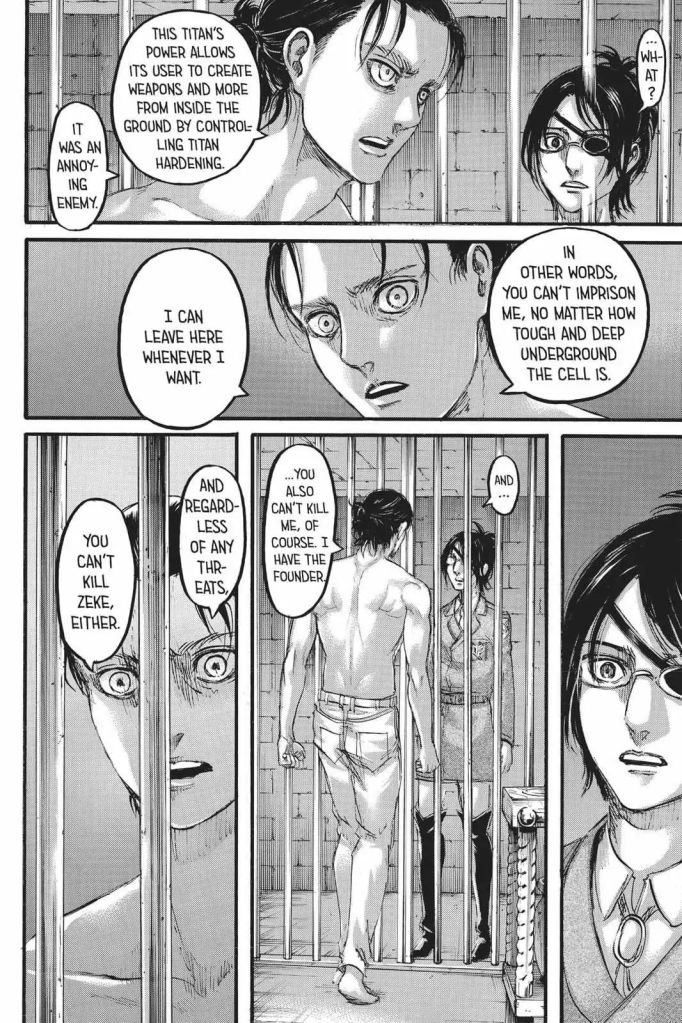 Eren Yeager explaining the War Hammer Titan's powers to Hanji, and his ability to hide underground with it. Shingeki no Kyojin Ch 107
