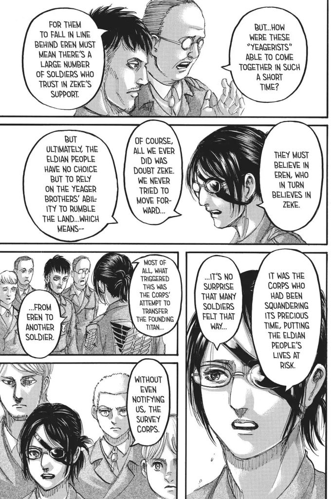 Commander Hanji admits the Survey Corps refused to move forward. Shingeki no Kyojin Ch 111