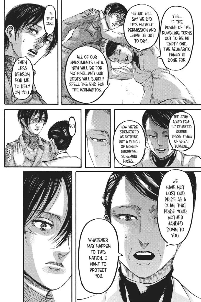So...is Hizuru no longer interested in Mikasa Ackerman? When her existence is what brought them to the table with Zeke? Shingeki no Kyojin Ch 111