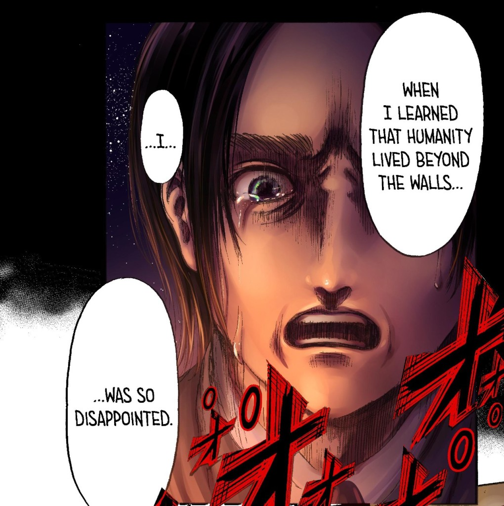 Eren expresses disappointment for the rest of the world. Attack on Titan chapter 131