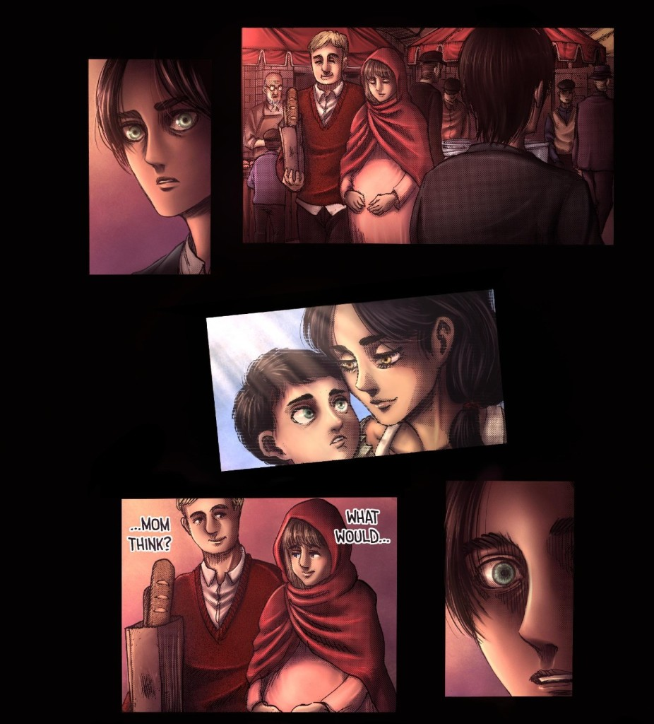 Eren thinks about his mother, Carla. Attack on Titan manga chapter 131
