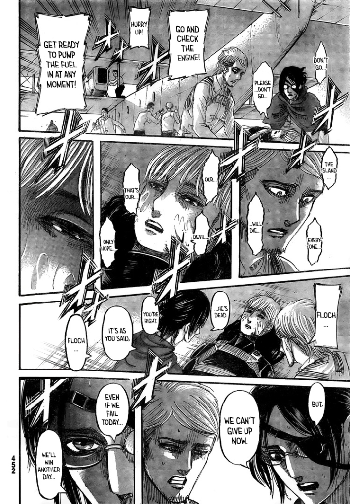 Commander Hanji admits Floch is right and that the Alliance of Good has no real plan. Shingeki no Kyojin Ch 132