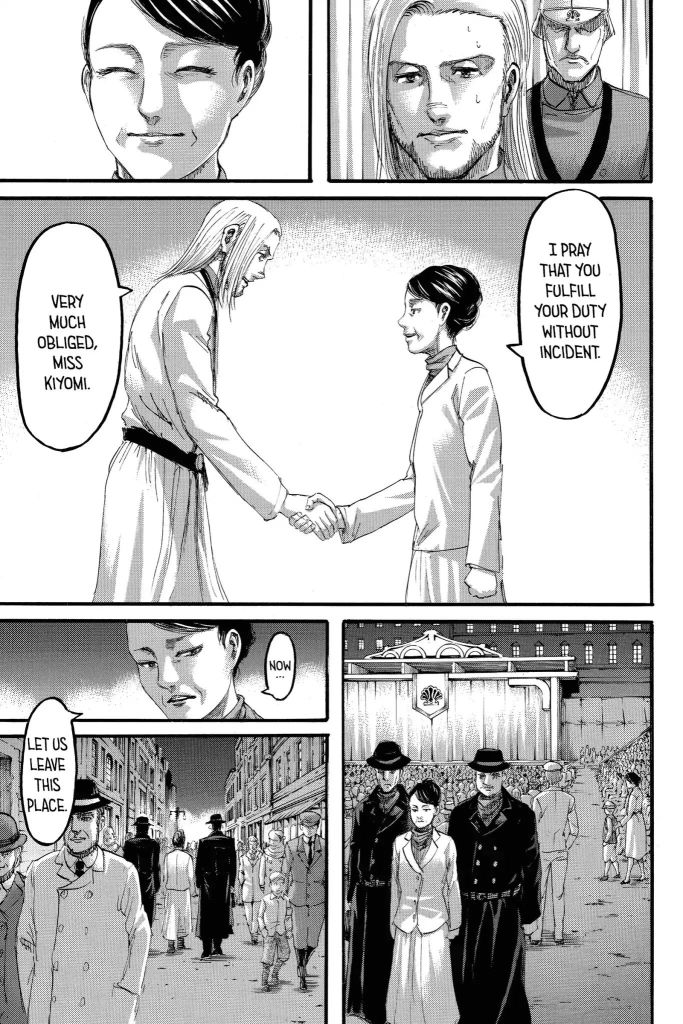 Ole Shady Kiyomi from Hizuru wishes Willy Tybur well in 'fulfilling his duties'. Attack on Titan Ch 99
