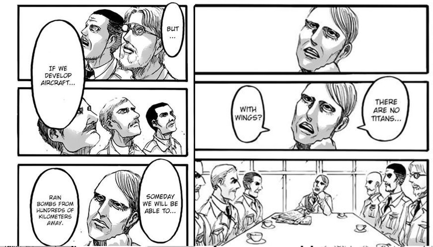 Magath, an admiral, and other Marleyans lament the ending era of Titans. Shingeki no Kyojin Ch 93