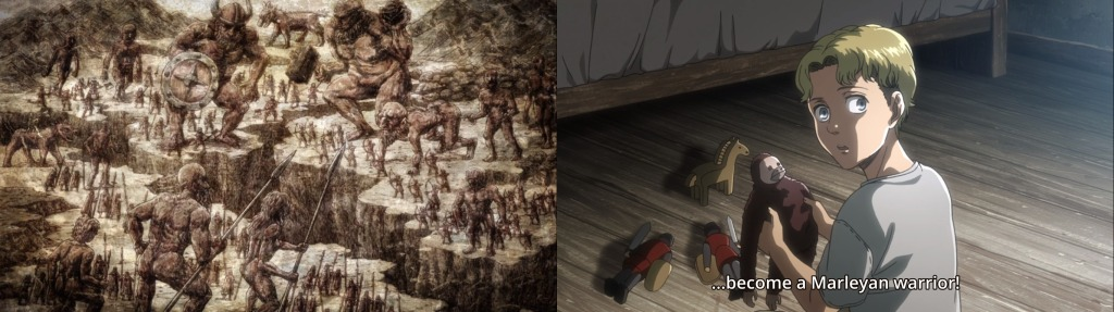 Zeke plays with a beast titan toy while a toy horse is in the forefront. An Eldian Empire scene of war with the 'toy' horse in the background. Both images from Attack on Titan Season 3 Part 2 Episode 8
