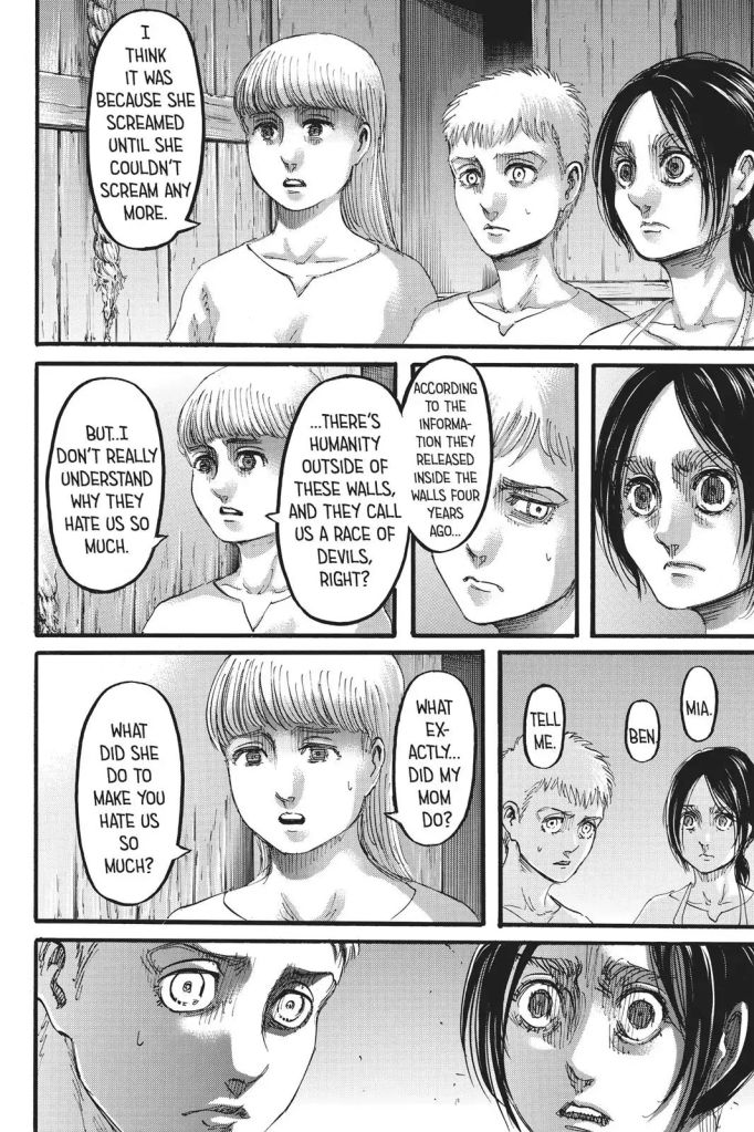 Kaya Blouse asks Gabi and Falco why her mother had to die. Shingeki no Kyojin Manga Chapter 109