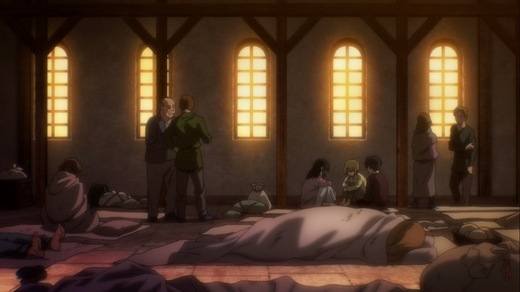 Hmph. Who are these three miserable little kids across from our heroes Annie, Bertholdt and Reiner? Attack on Titan the Final Season Episode 3