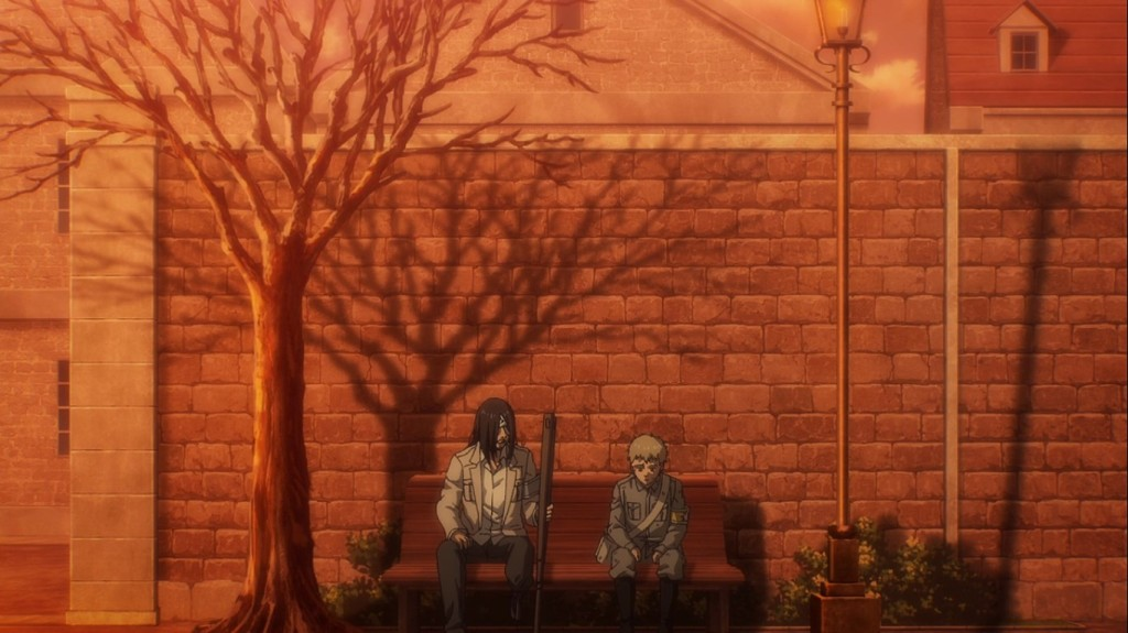 Falco and Eren sit beneath a tree with many branches, or PATHs...Attack on Titan the Final Season Episode 3