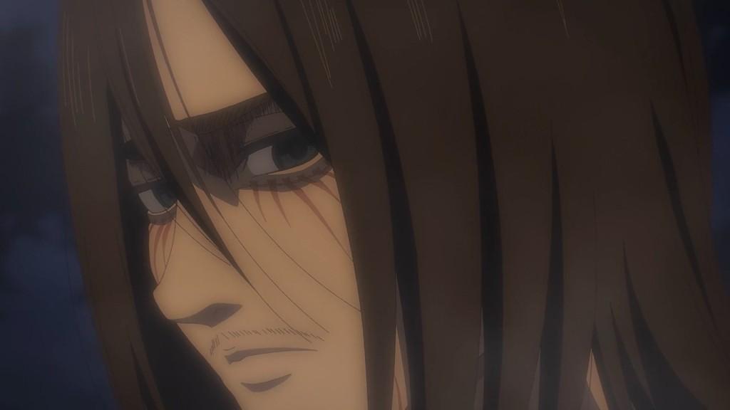 Eren looks back at Reiner. Attack on Titan Episode 67