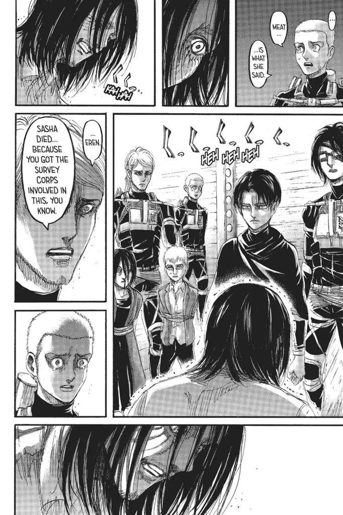 Eren laughs and then...cries? at the news of Sasha Braus' death. Shingeki no Kyojin Manga Chapter 105