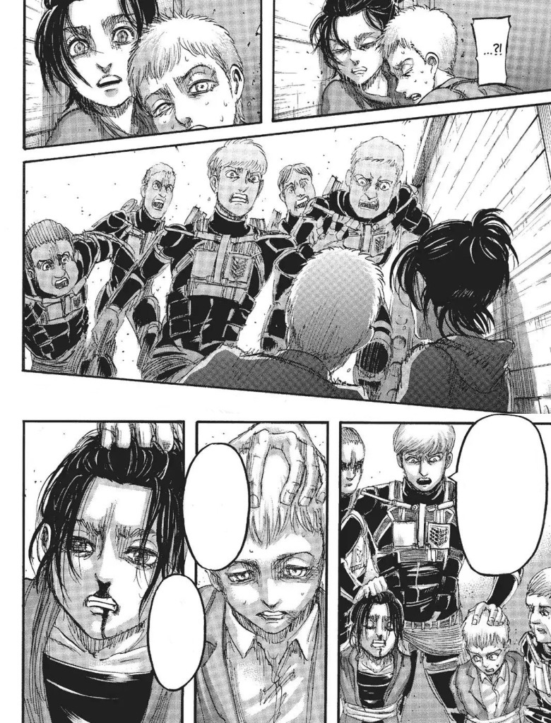 King Floch and crew beat up Gabi and Falco. It was inferred in the manga, but never explicitly shown. I stitched together the before and after panels from it. Shingeki no Kyojin Manga Chapter 105