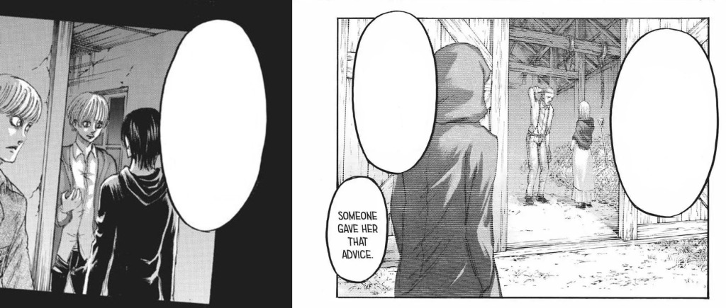 The hooded man and Eren...is it a spoiler if I don't tell you the chapters or give you any context? Shingeki no Kyojin manga