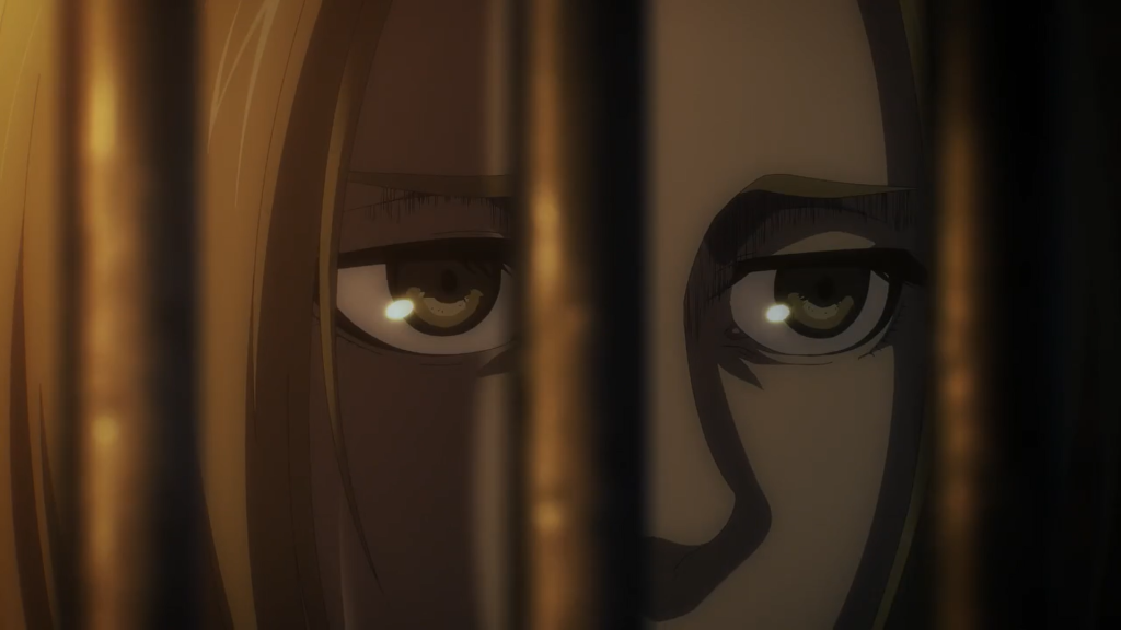 Louise eyes Mikasa's scarf behind bars. Attack on Titan Season 4 Episode 70