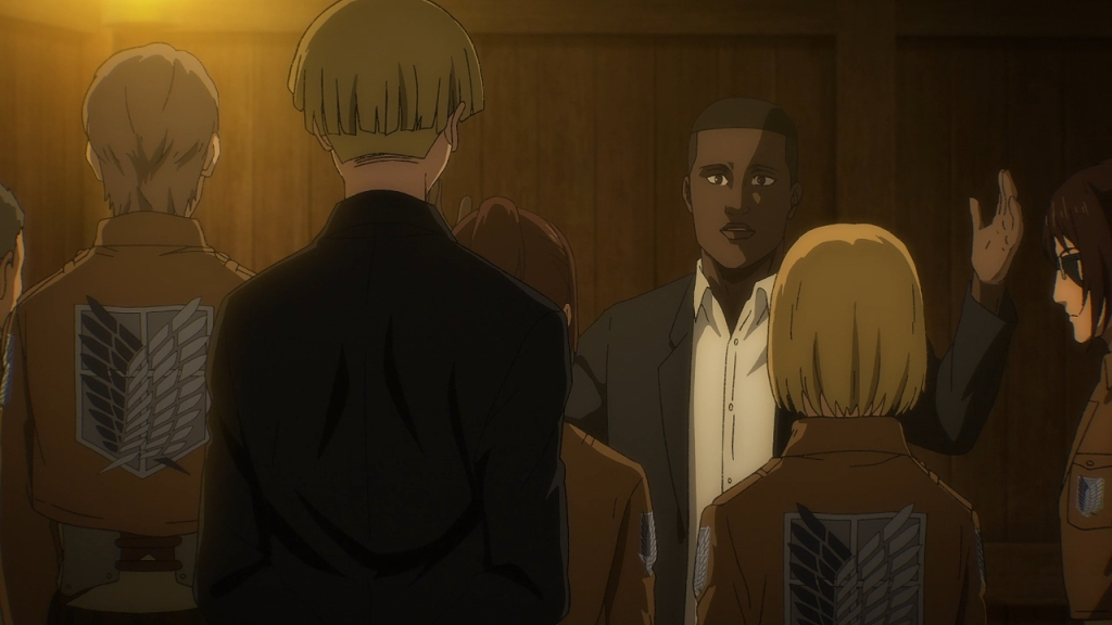 Onyankopon tells the Paradis Eldians about their creation story, before catching Yelena's face. Attack on Titan the Final Season episode 9