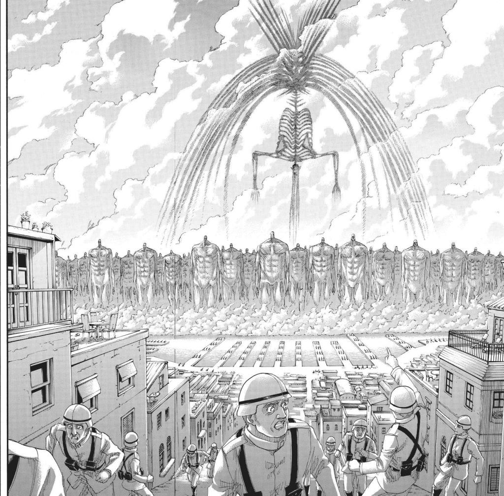 One huge Hallucigenia. Eren Yeager's founding titan form in Shingeki no Kyojin manga Chapter 129