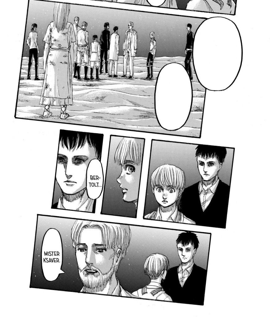 Bertholdt with hollow eyes as Ymir watches on. Shingeki no Kyojin manga chapter 137