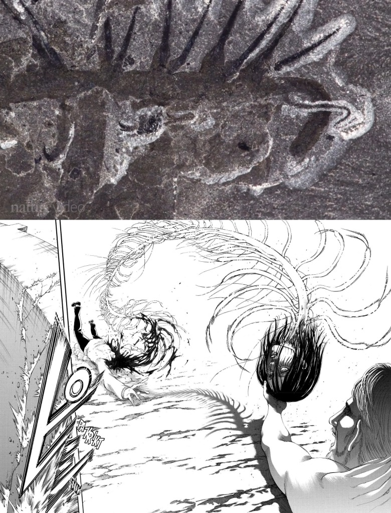 Eren combines with the spinal creature after being shot by Gabi. Shingeki no Kyojin manga ch 122