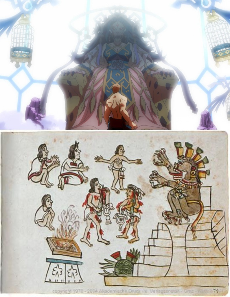 Bucaphi and the Aztec tzitzimitl together. Taken from Log Horizon Season 3 and the Codex Magliabechiano, respectively.