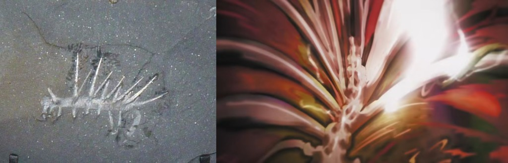 A Hallucigenia fossil side by side with a titan transformation from the Attack on Titan Season 4 opening